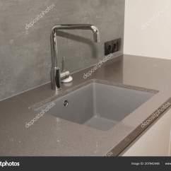 Ceramic Kitchen Sink Pre Assembled Cabinets Online 现代厨房金属水龙头和陶瓷厨房水槽 图库照片 C Thefutureis 207942448