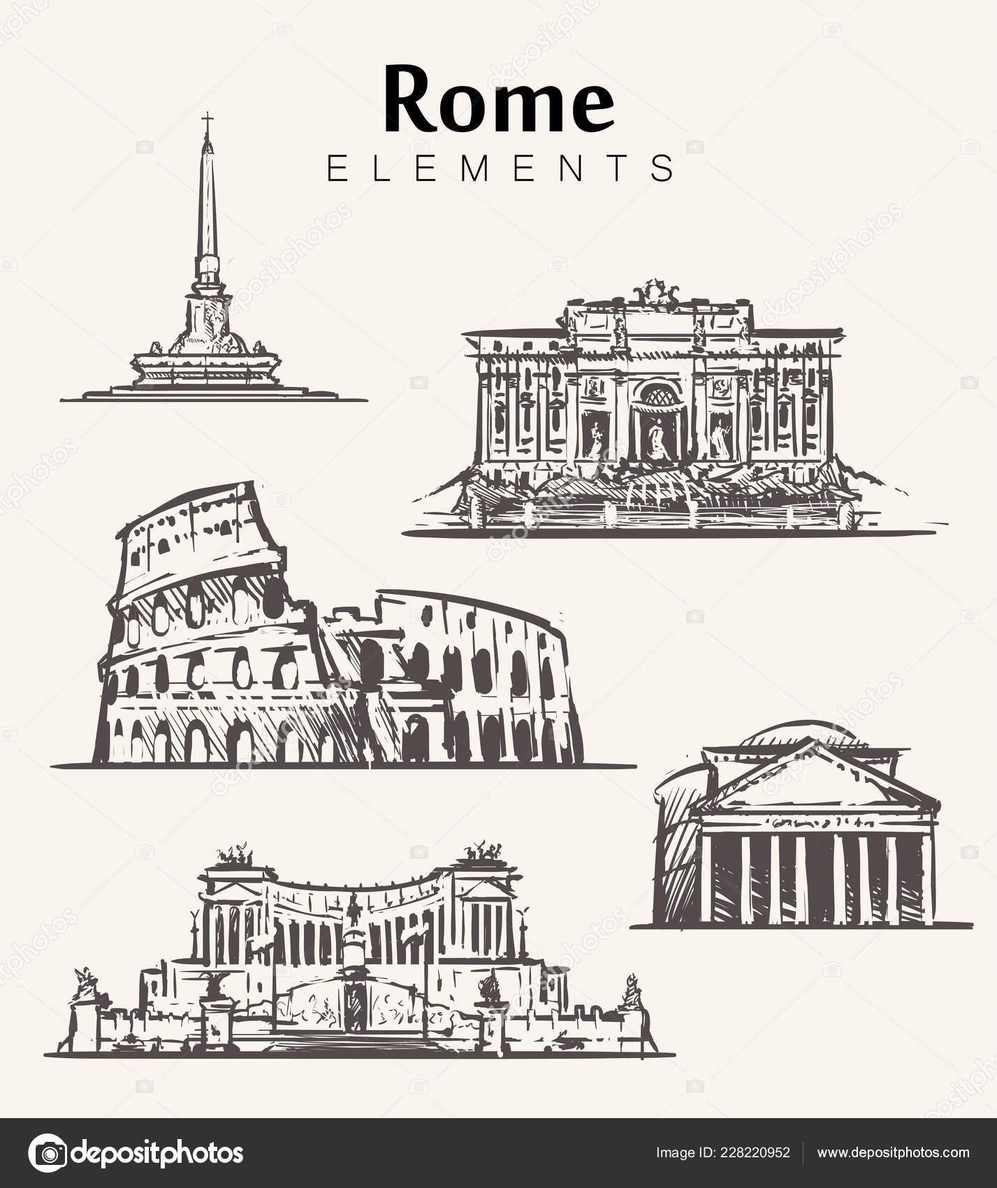 Conjunto Edificios Roma Desenhados Mao Elementos Roma