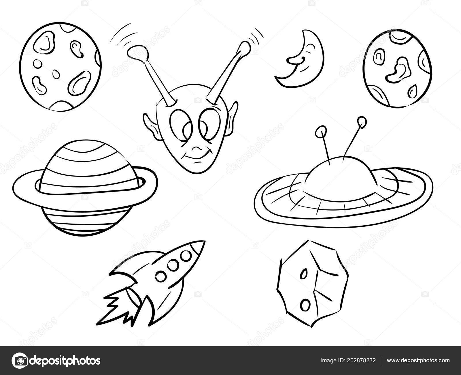 Planets Line Art