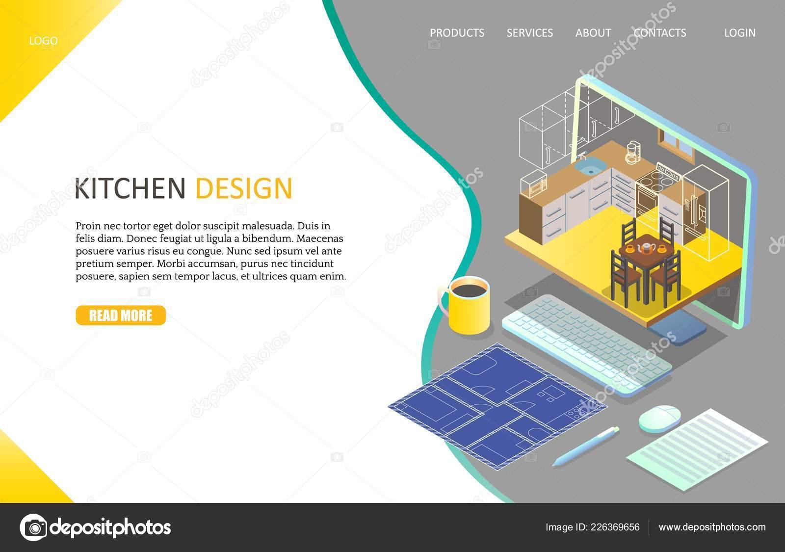 kitchen design template suites 厨房设计登陆页面网站矢量模板 图库矢量图像 c siberianart 226369656 图库矢量图片