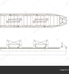 outline drawing of cargo ship on a white background top side and front view [ 1600 x 900 Pixel ]