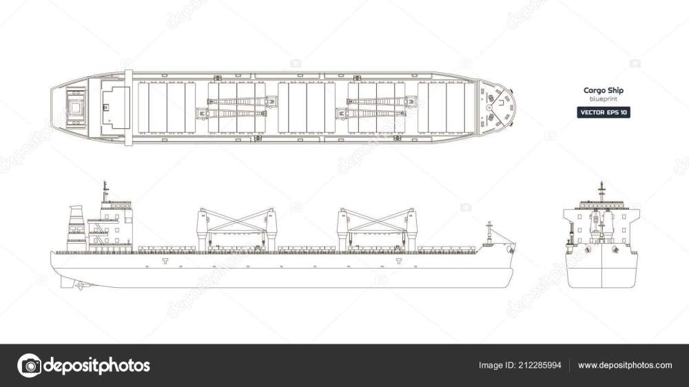 medium resolution of outline drawing of cargo ship on a white background top side and front view