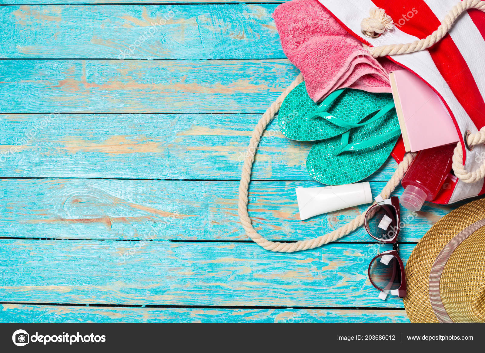 Summer Holiday Background Beach Items Travel Vacation Concept Stock Photo C Fotofabrika 203686012