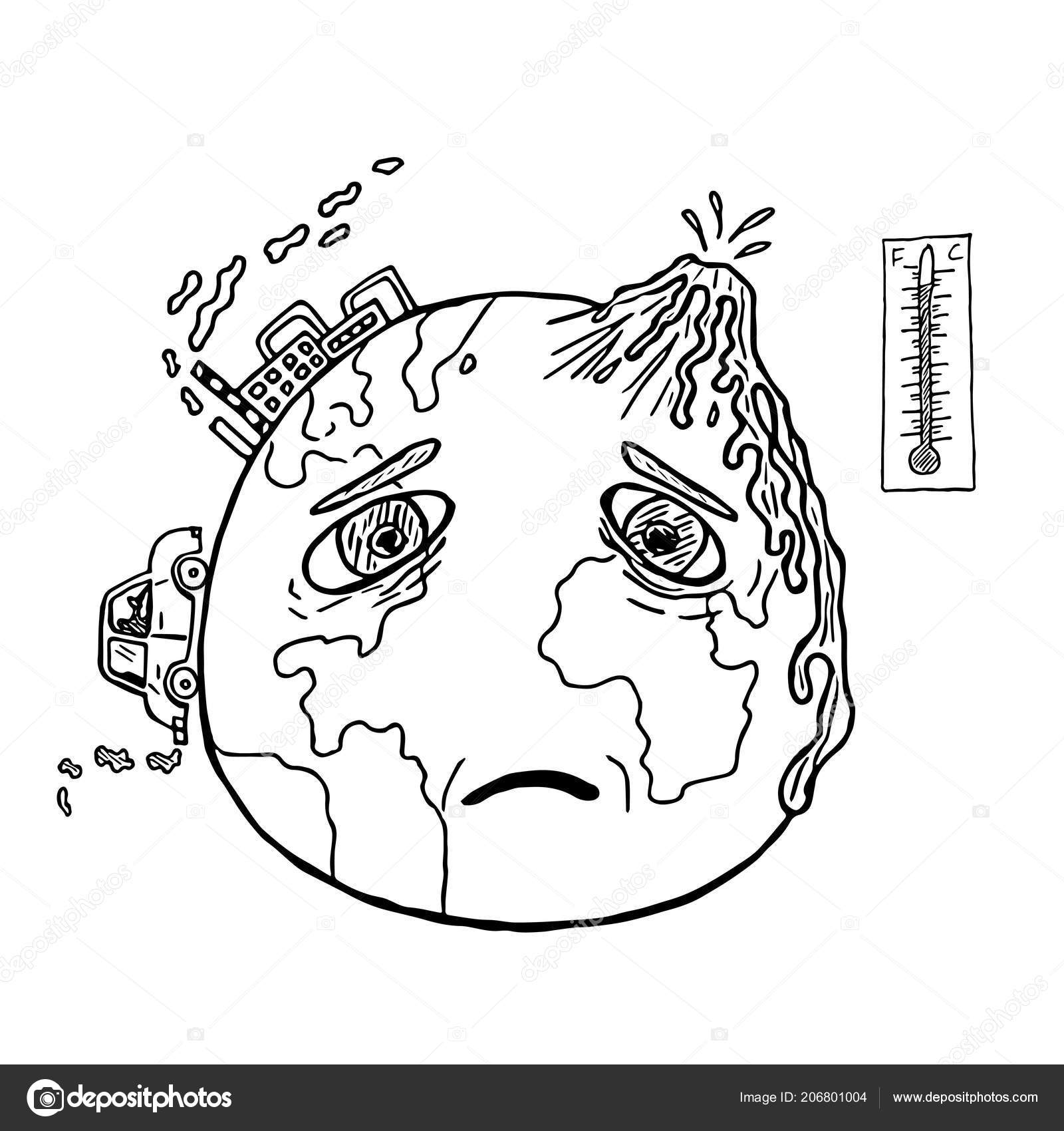 Hand Drawn Planet Earth Sad Face Global Warming Pollution