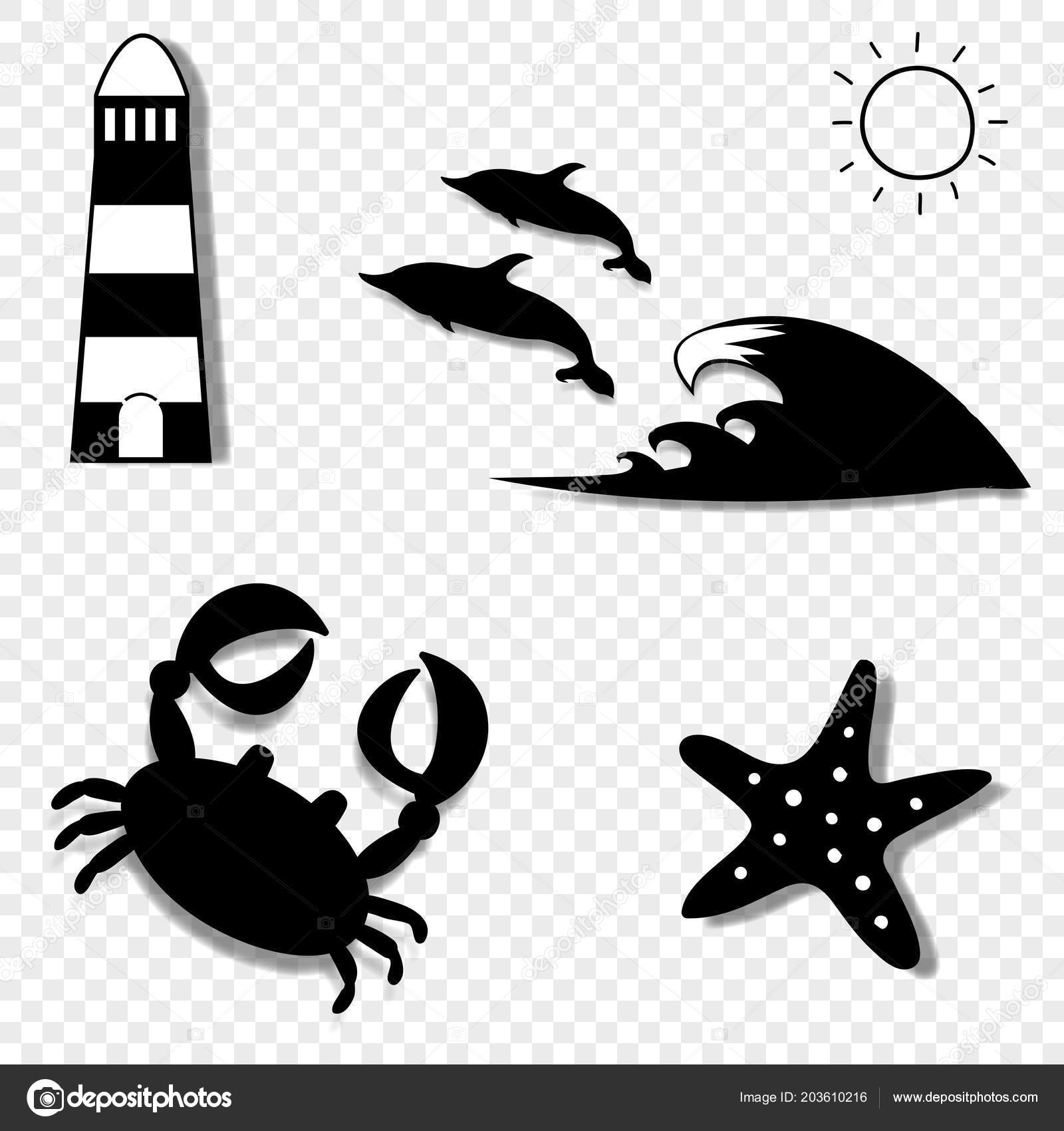 Vector Black White Silhouette Illustration Summer Travel