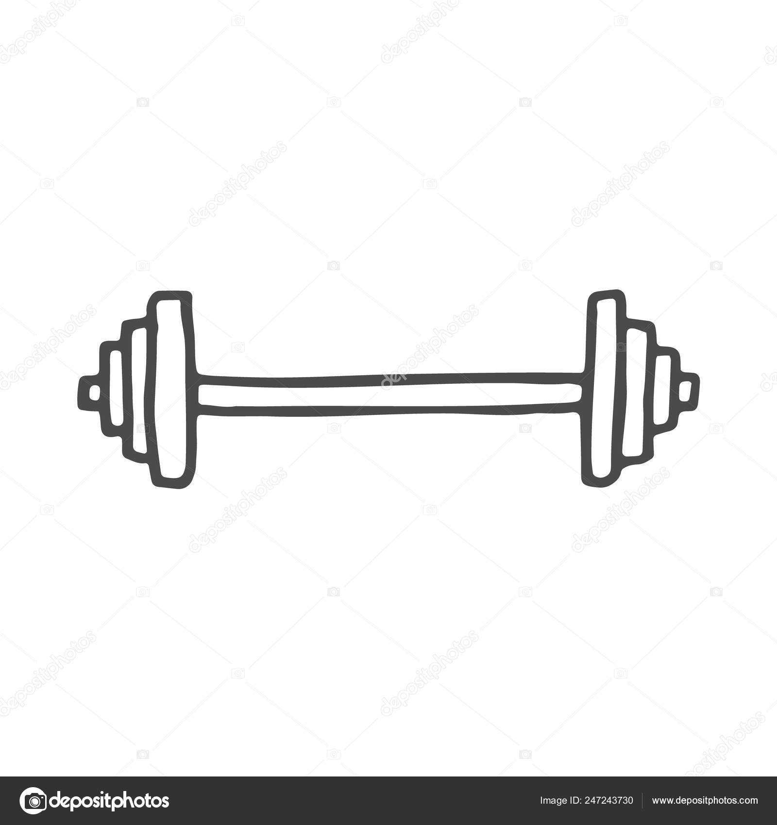 freehand drawn cartoon barbell