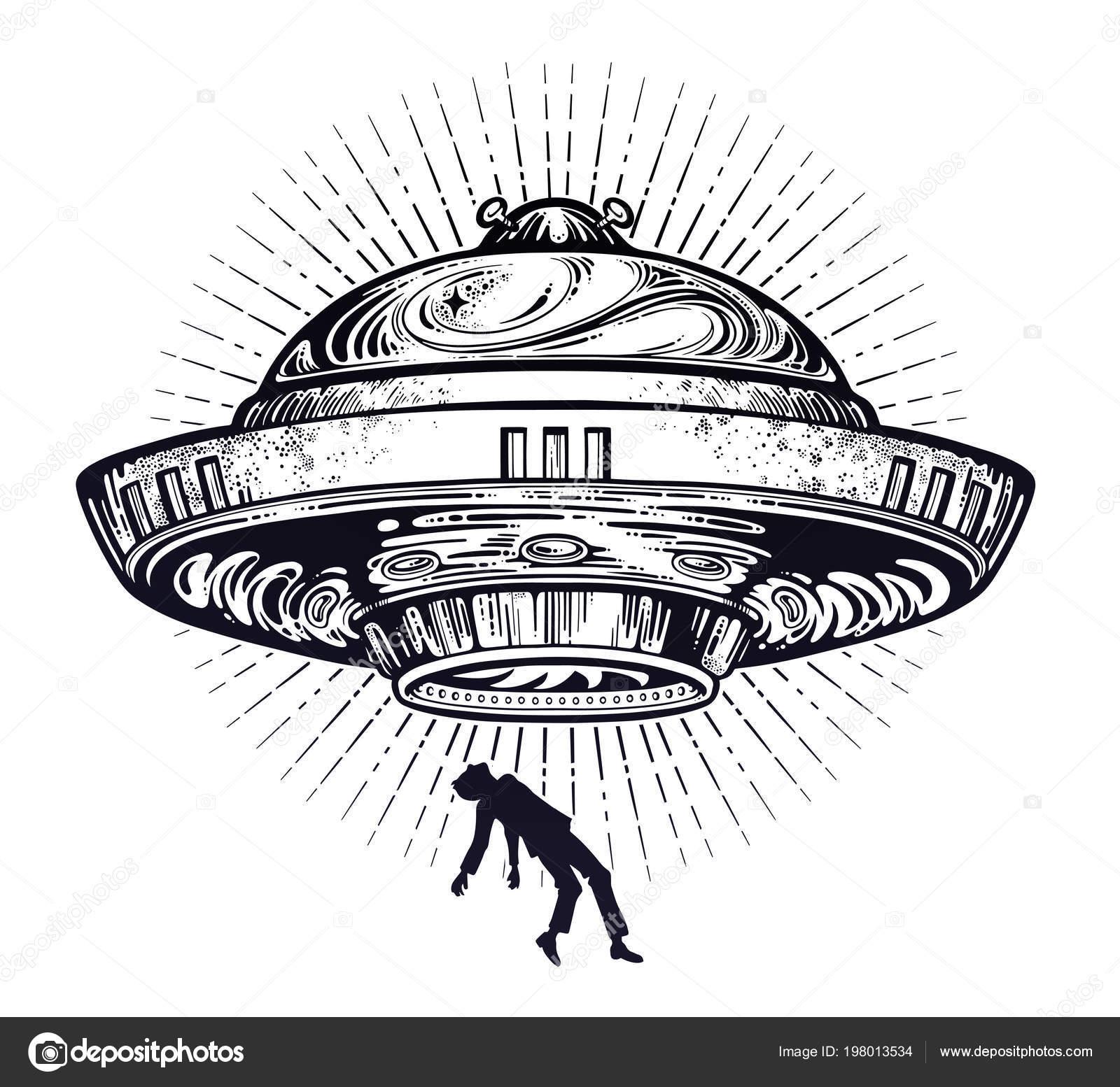 Nave Alienigena Fantastica Abducao Ufo De Um Ser Humano