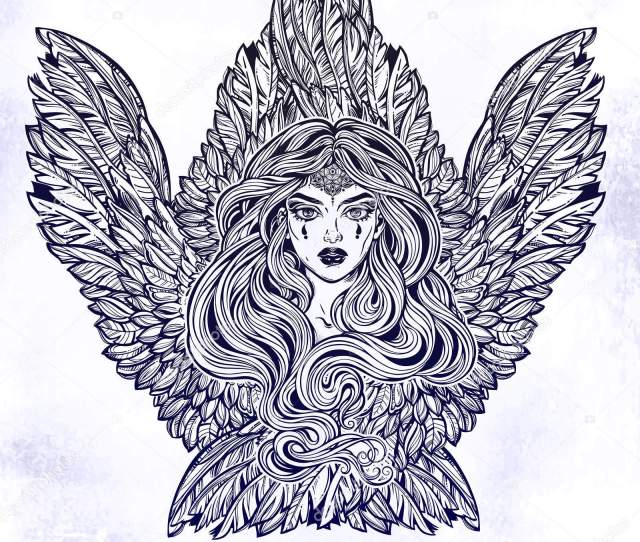 Angel Magic Woman With Wings And Long Hair Alchemy Tattoo Art T Shirt Design Adult Coloring Book Page Isolated Vector On White Background