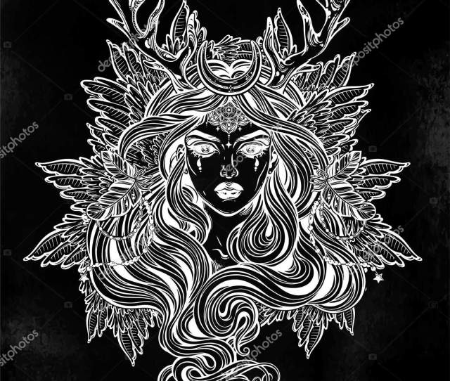 Demonic Winged Angel Magic Woman With Deer Antlerss And Long Hair Alchemy Tattoo Art T Shirt Design Adult Coloring Book Page Isolated Vector On White