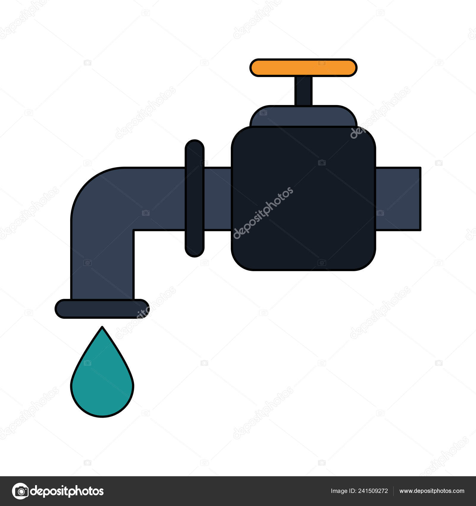 hight resolution of water tap with drop stock vector