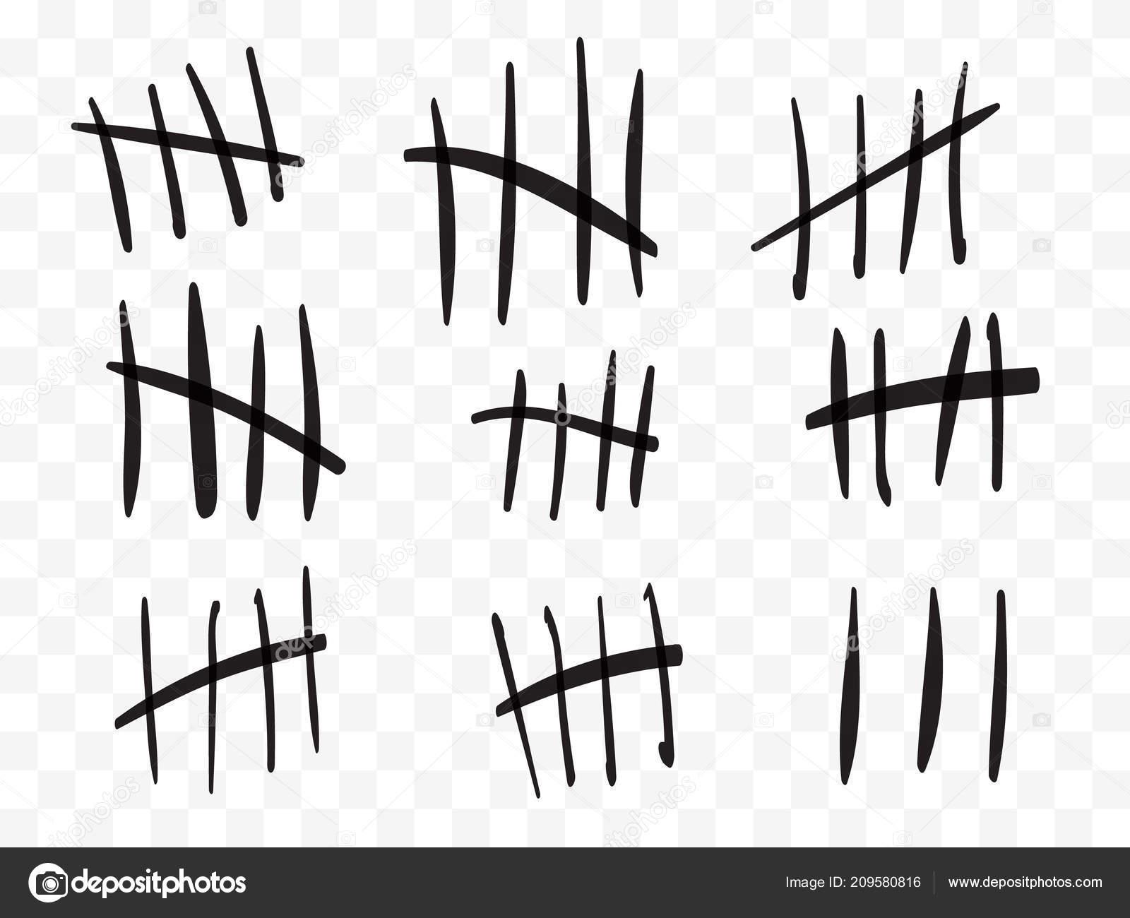 Zählstriche auf eine Gefängnismauer isoliert. Zeichen