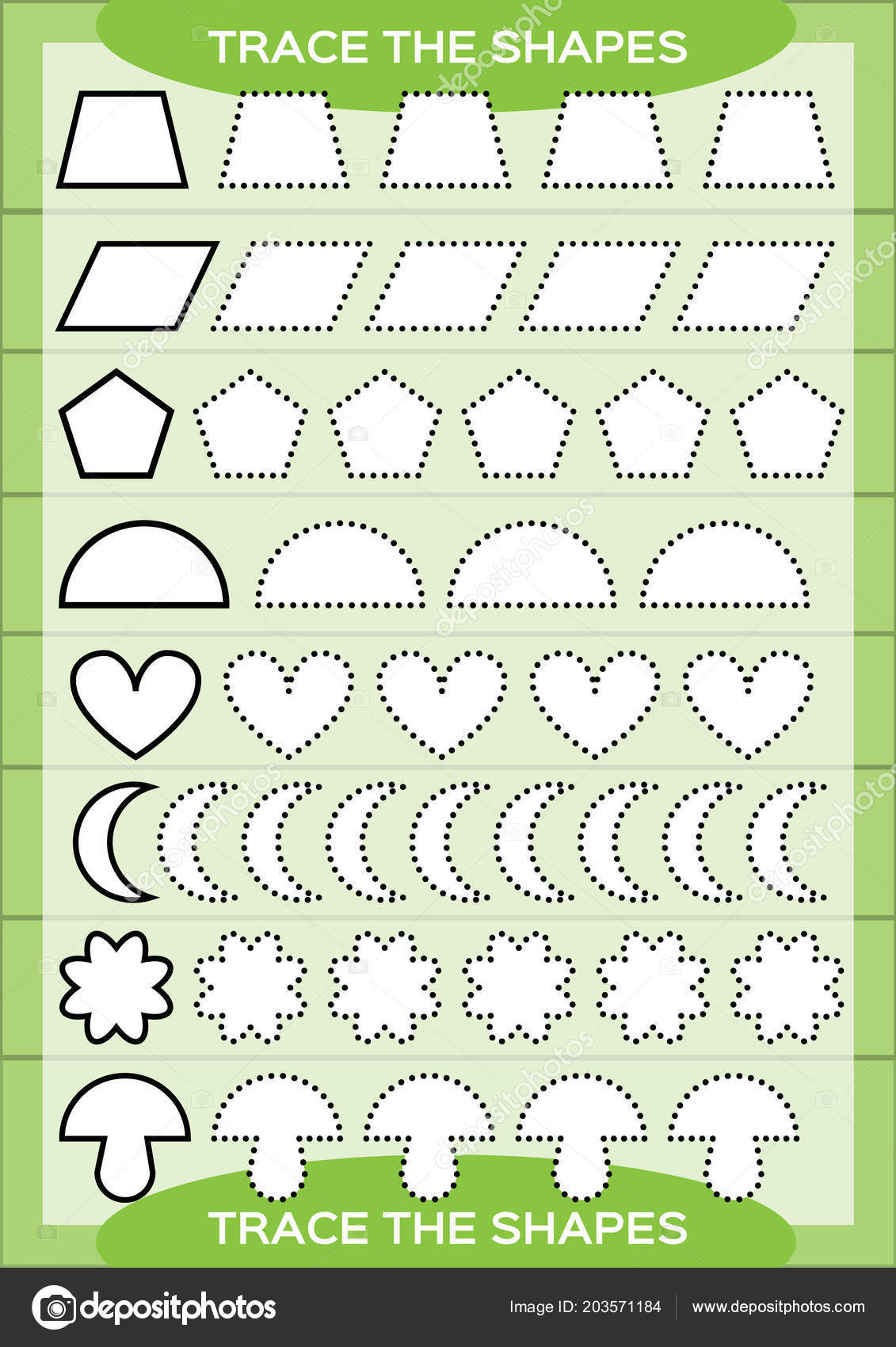Preschool Worksheet Trace Shapes Color Basic Writing