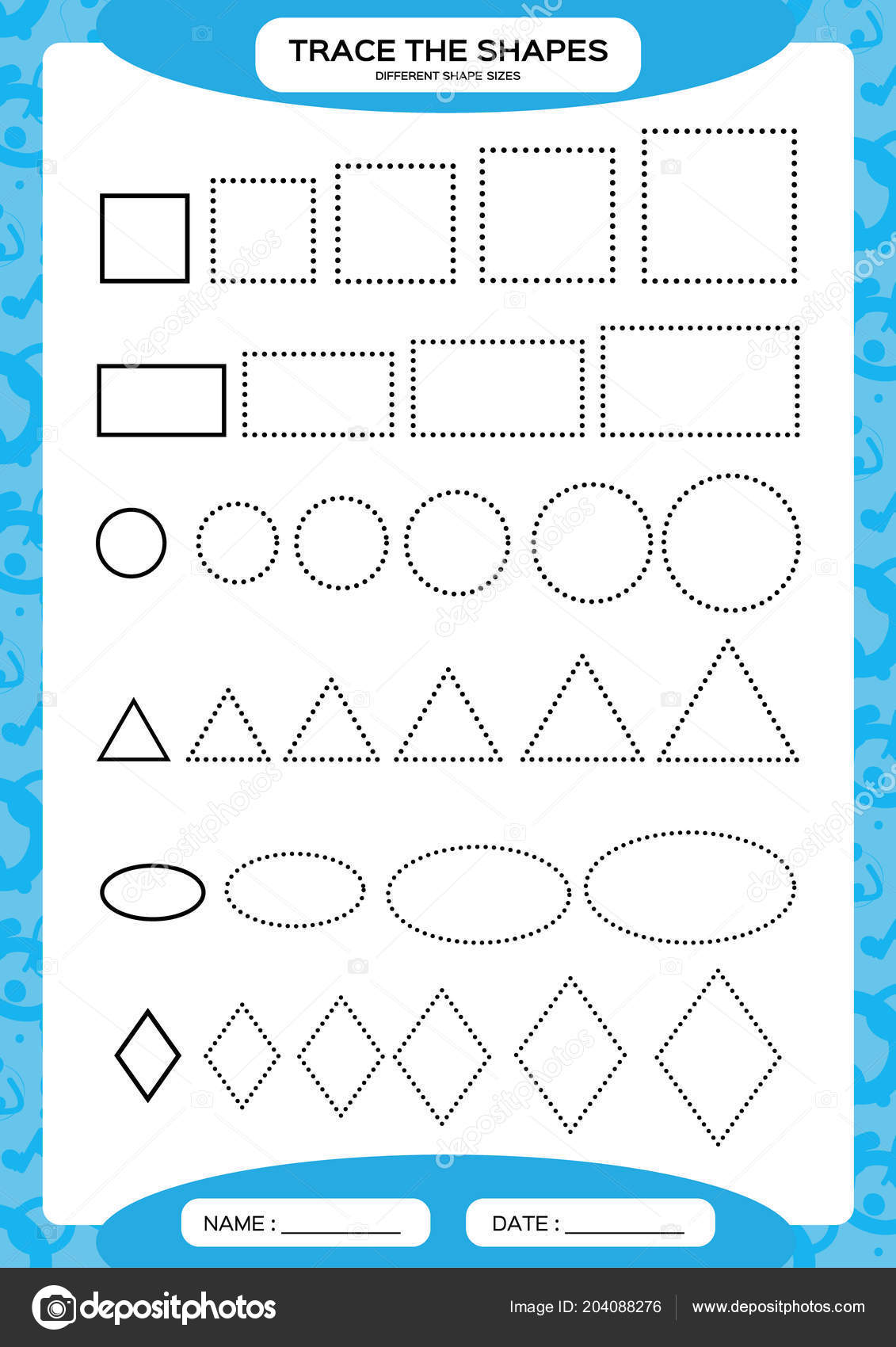 Different Shape Sizes Learning Basic Shapes Trace Draw