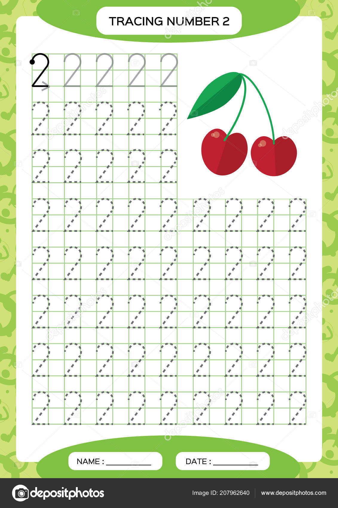 Number Two Tracing Worksheet Cherry Berry Preschool
