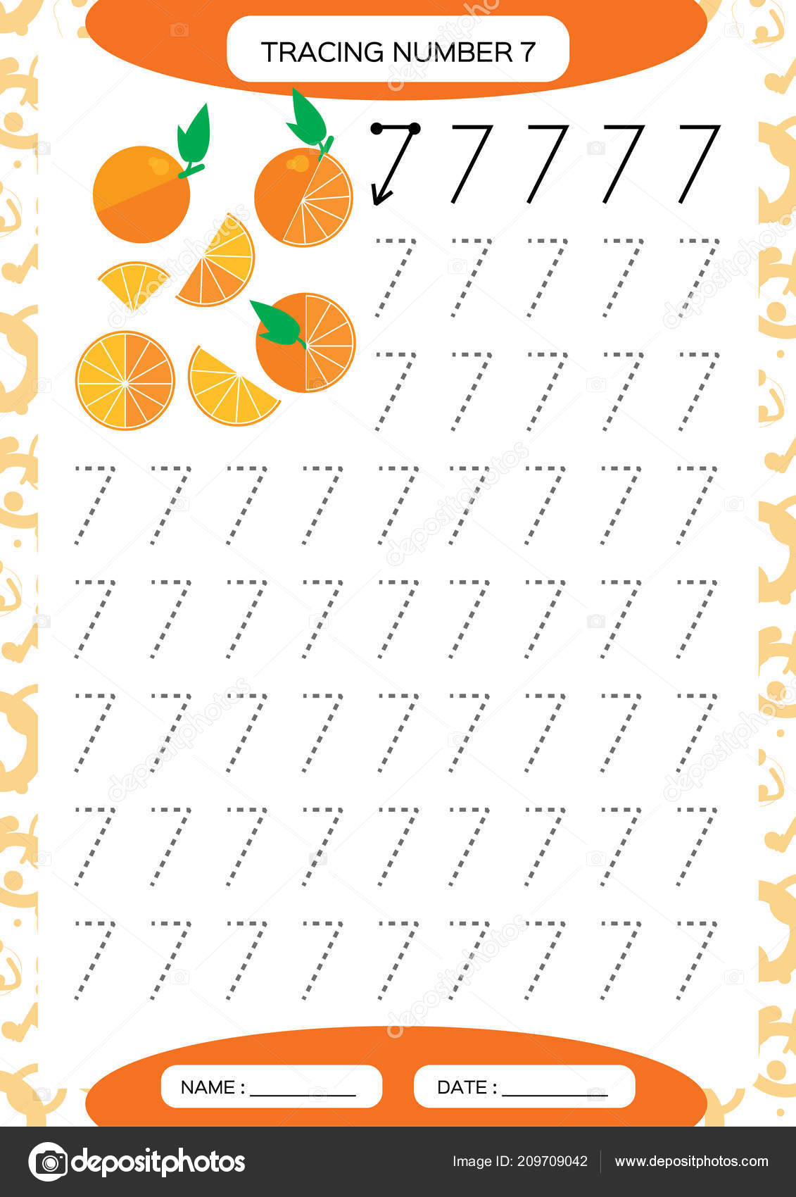 Number Seven Tracing Worksheet Kids Juicy Orange Preschool