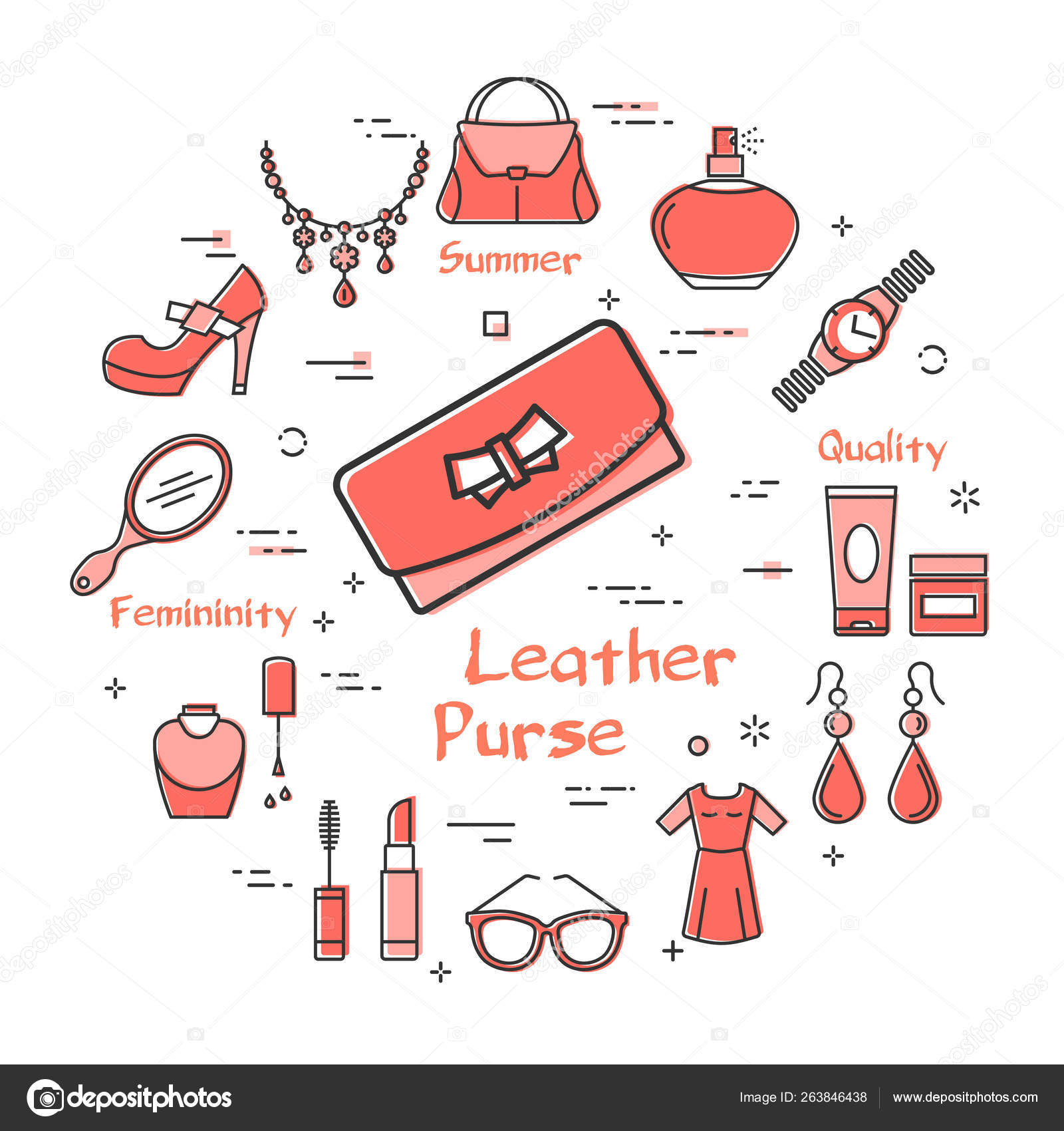 hight resolution of woman accessories concept with red leather purse stock vector