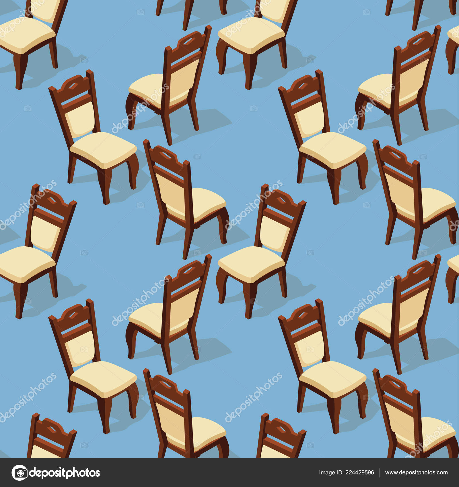 blue and white upholstered chairs large bean bags seamless pattern isometric cartoon chair isolated upholstery stock vector