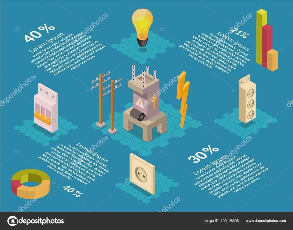 medium resolution of isometric electricity production elements transformer bulb home electrical infographic stock vector