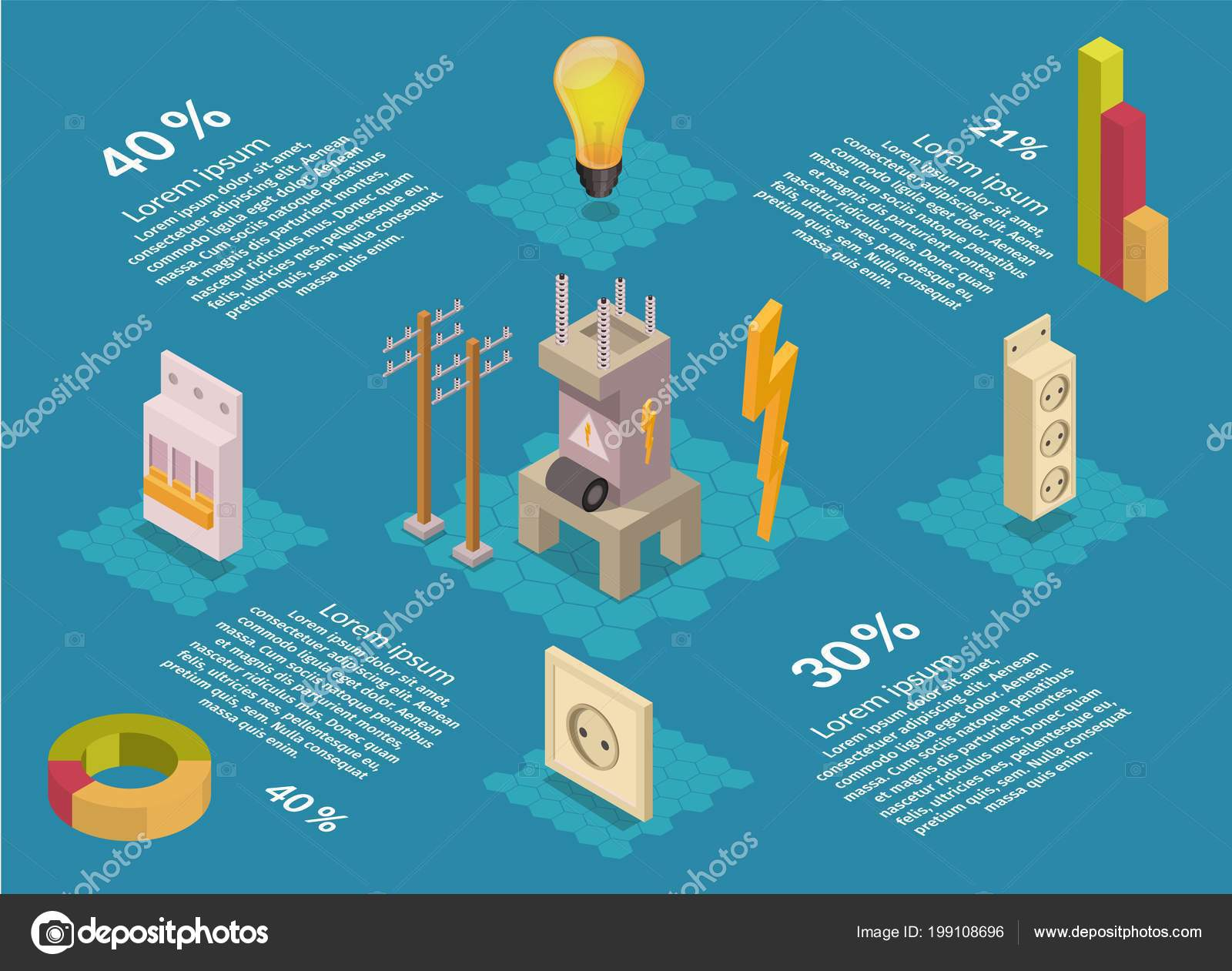 hight resolution of isometric electricity production elements transformer bulb home electrical infographic stock vector