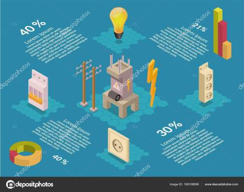 small resolution of isometric electricity production elements transformer bulb home electrical infographic stock vector