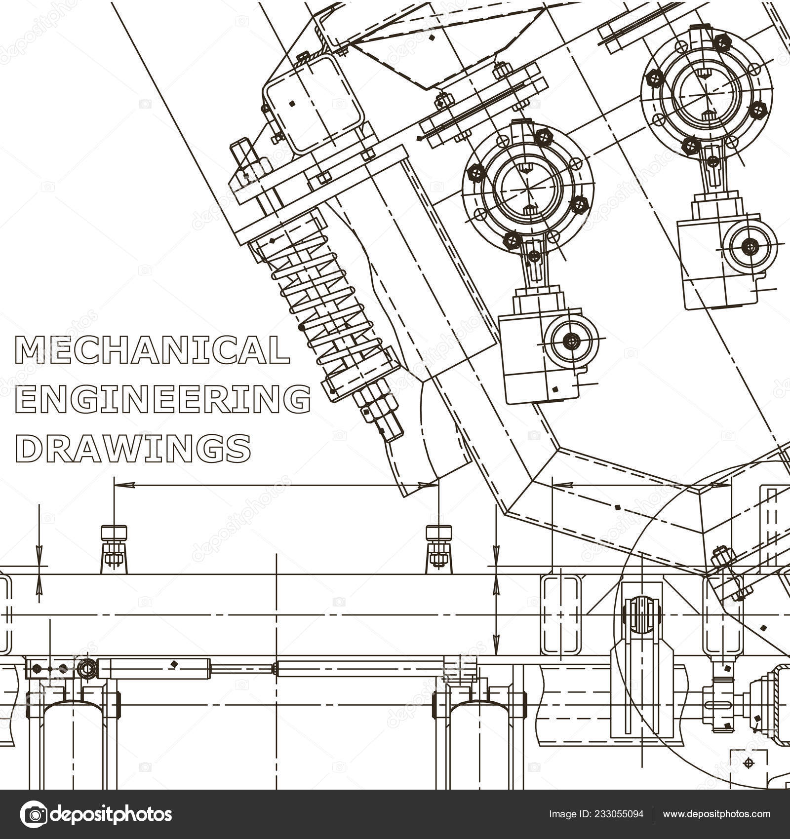 hight resolution of computer aided design systems instrument making drawings blueprint diagram plan sketch vector by bubushonok
