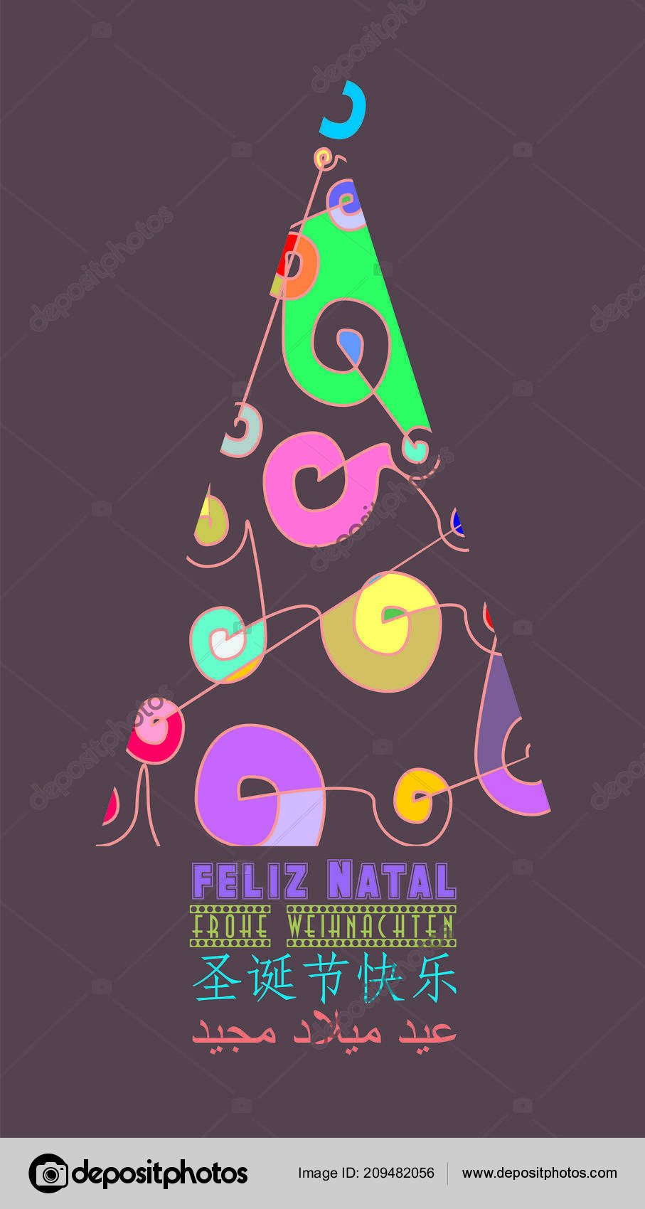 different colorful christmas card