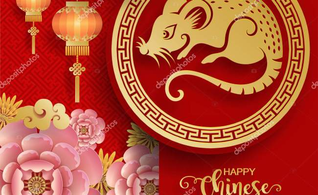 Happy Chinese New Year 2020 Zodiac Sign Gold Rat Paper