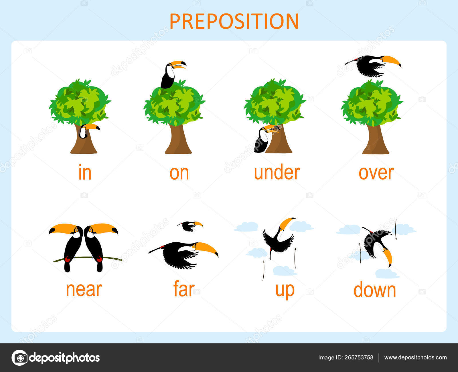 Preposition Motion Preschool Worksheet Stock Vector