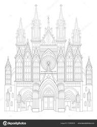 Drawings: gothic fairy Fantasy Drawing Medieval Gothic Castle Black White Page Coloring Book Stock Vector © Nataljacernecka #219488426