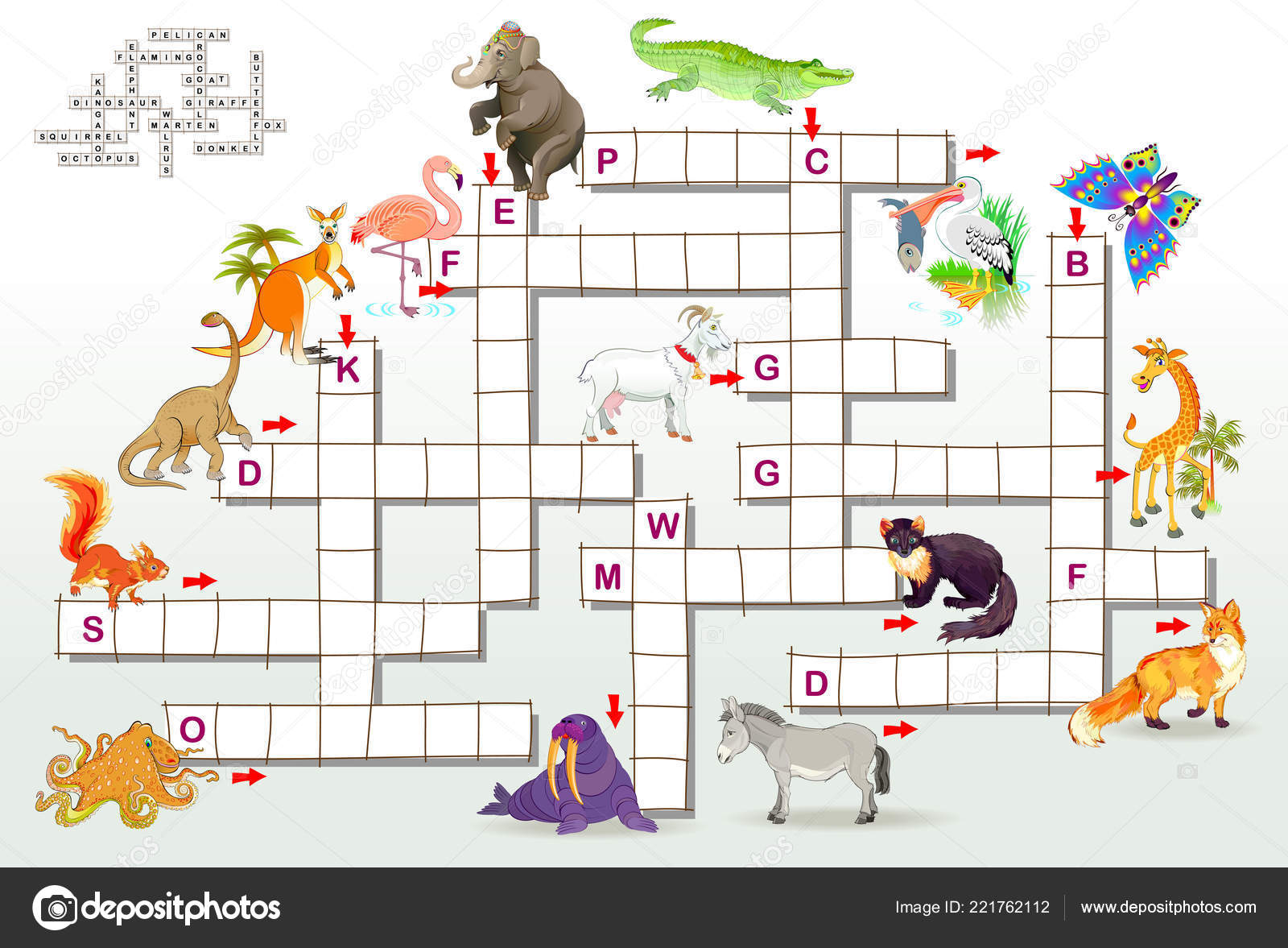 Crossword Puzzle Game Funny Animals Educational Page Children Study English