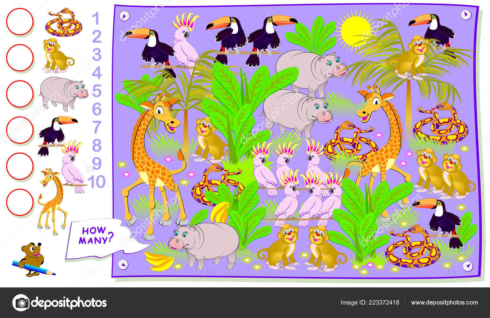 Educational Page Kids How Many Animals Hide Jungle Count Quantity
