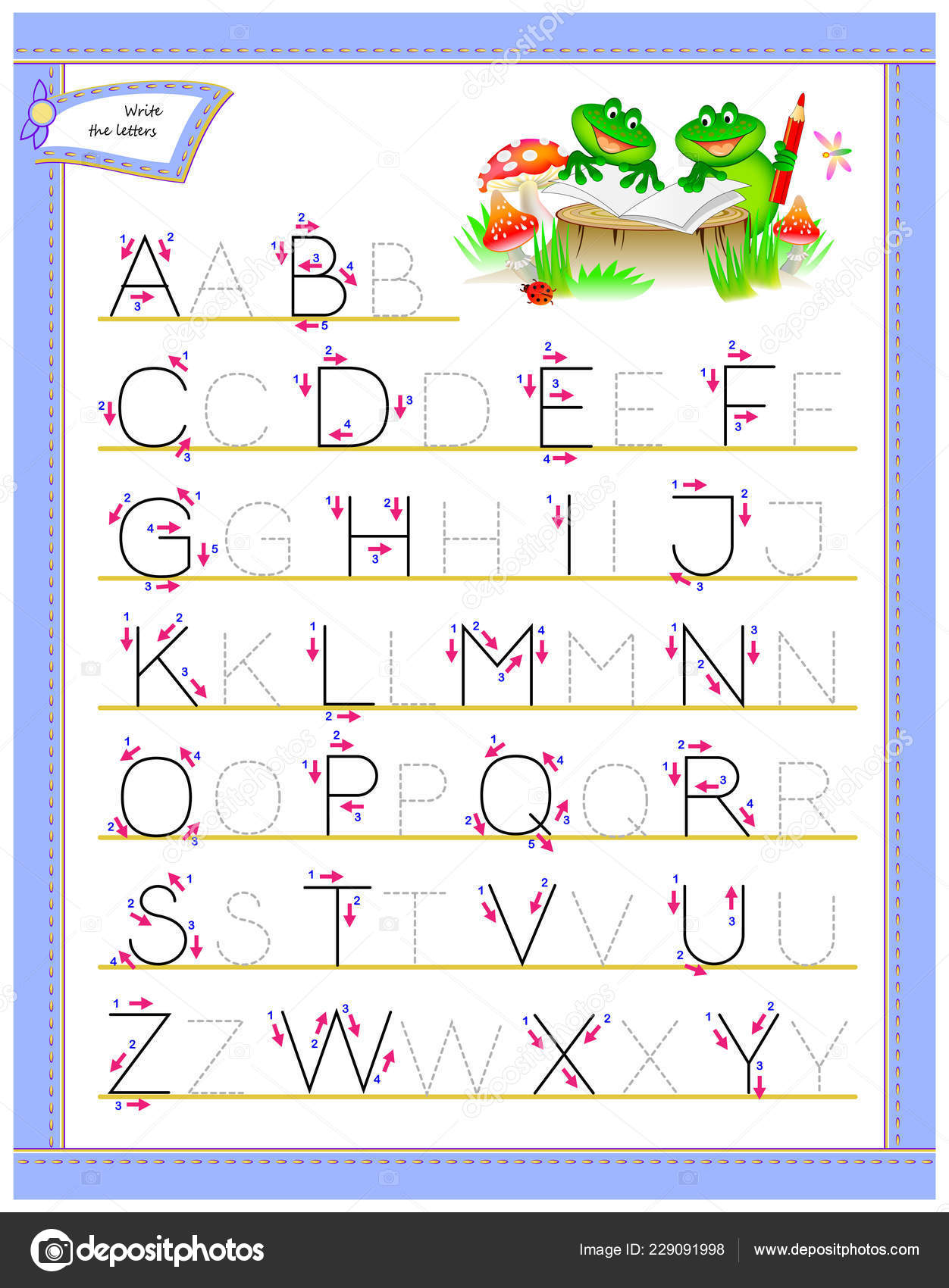 Tracing Abc Letters Study English Alphabet Worksheet Kids