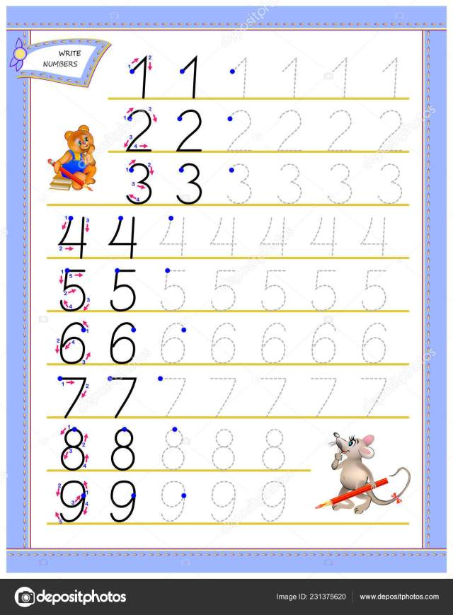 Educational Page Children Study Writing Numbers Worksheet Kids