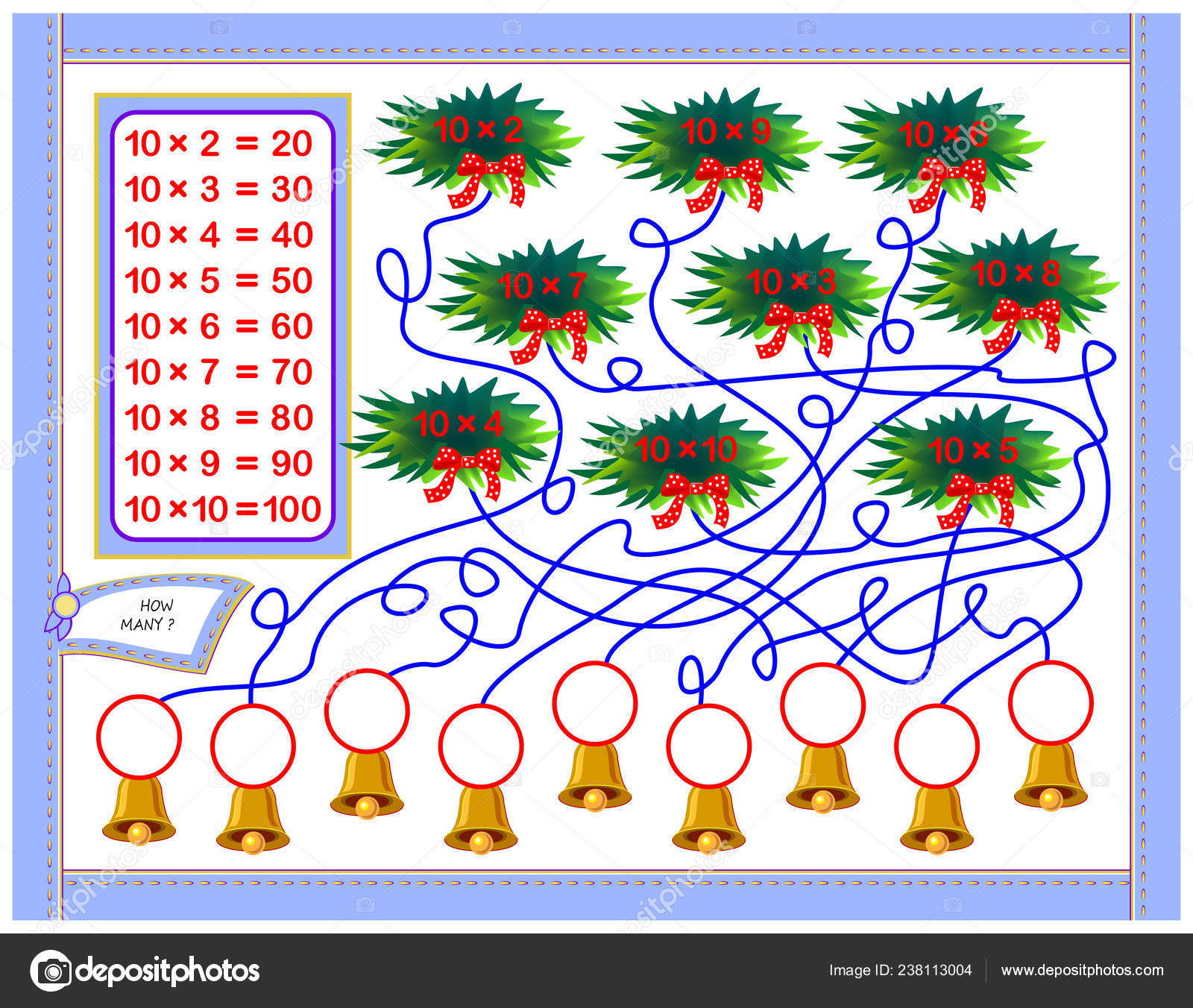 Multiplication Table Kids Write Numbers Correct Circles
