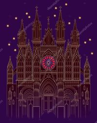 ✅ Illustration of a fantasy medieval Gothic castle at night time Cover for kids fairy tale book Poster for travel company Imaginary fairyland landscape Modern print Vector cartoon image premium vector in