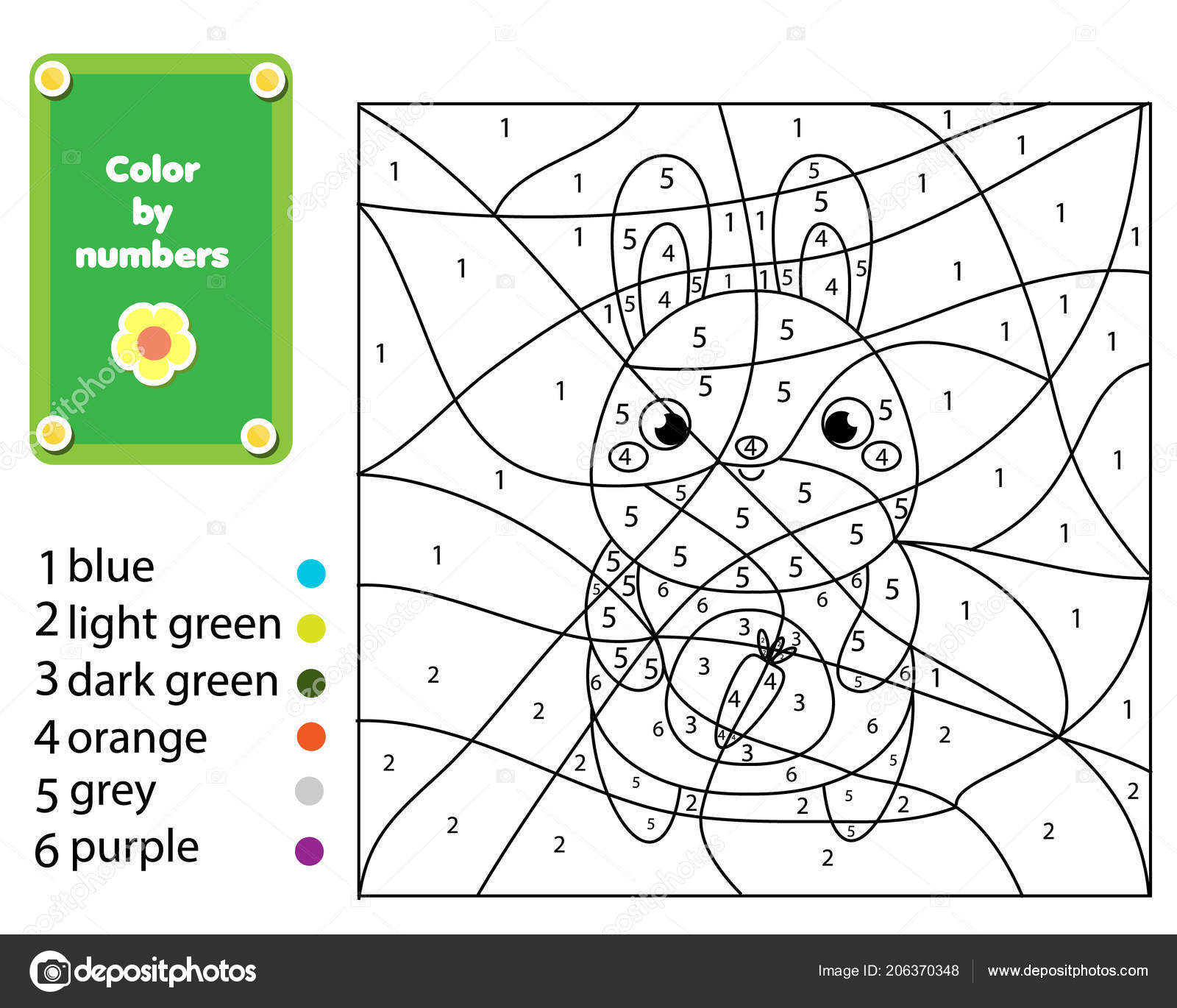Children Educational Game Coloring Page Rabbit Color