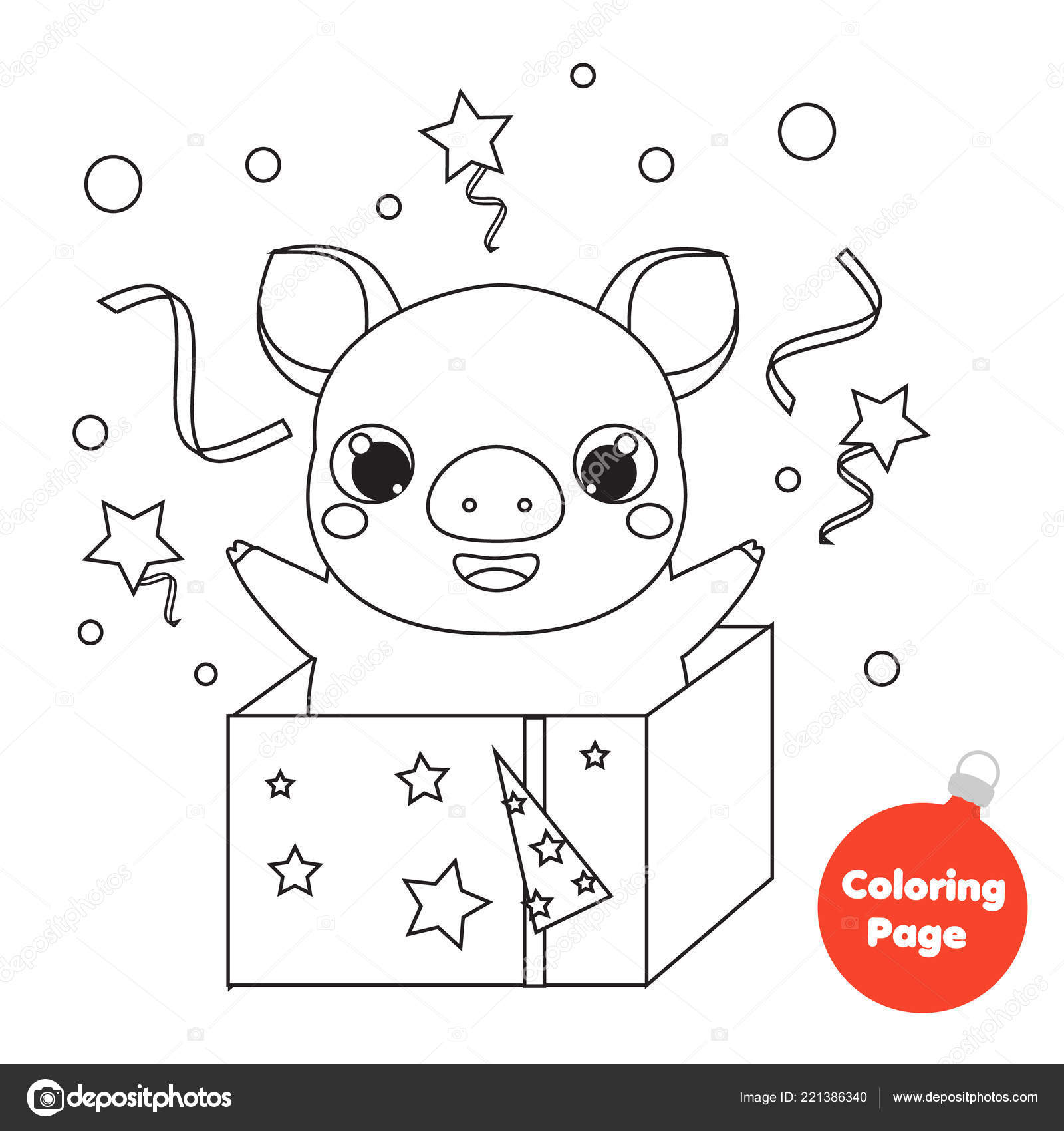 Coloring Page Chinese New Year Pig T Box