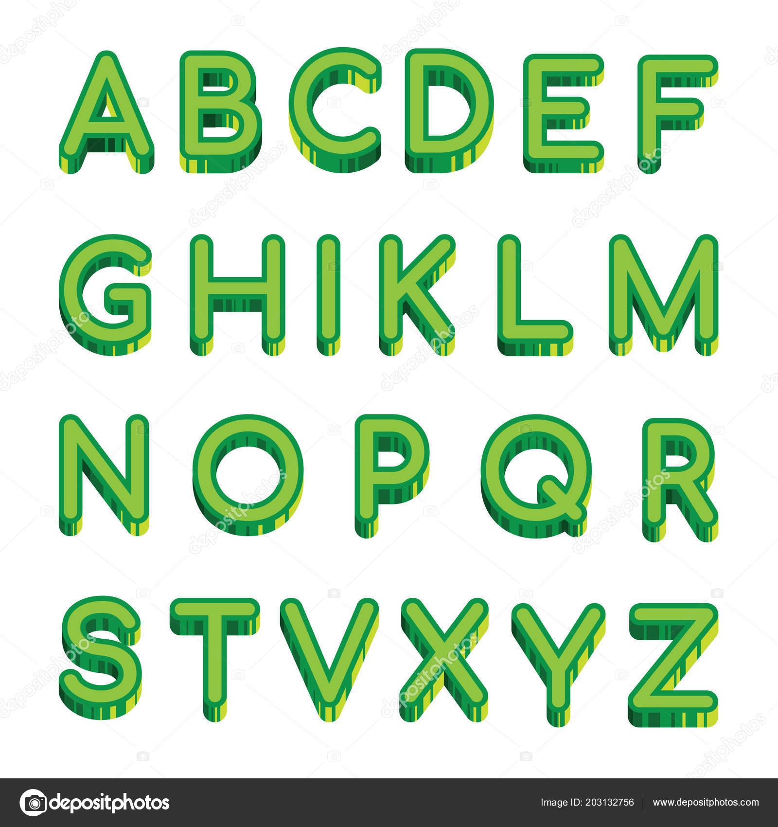 vector art green letters