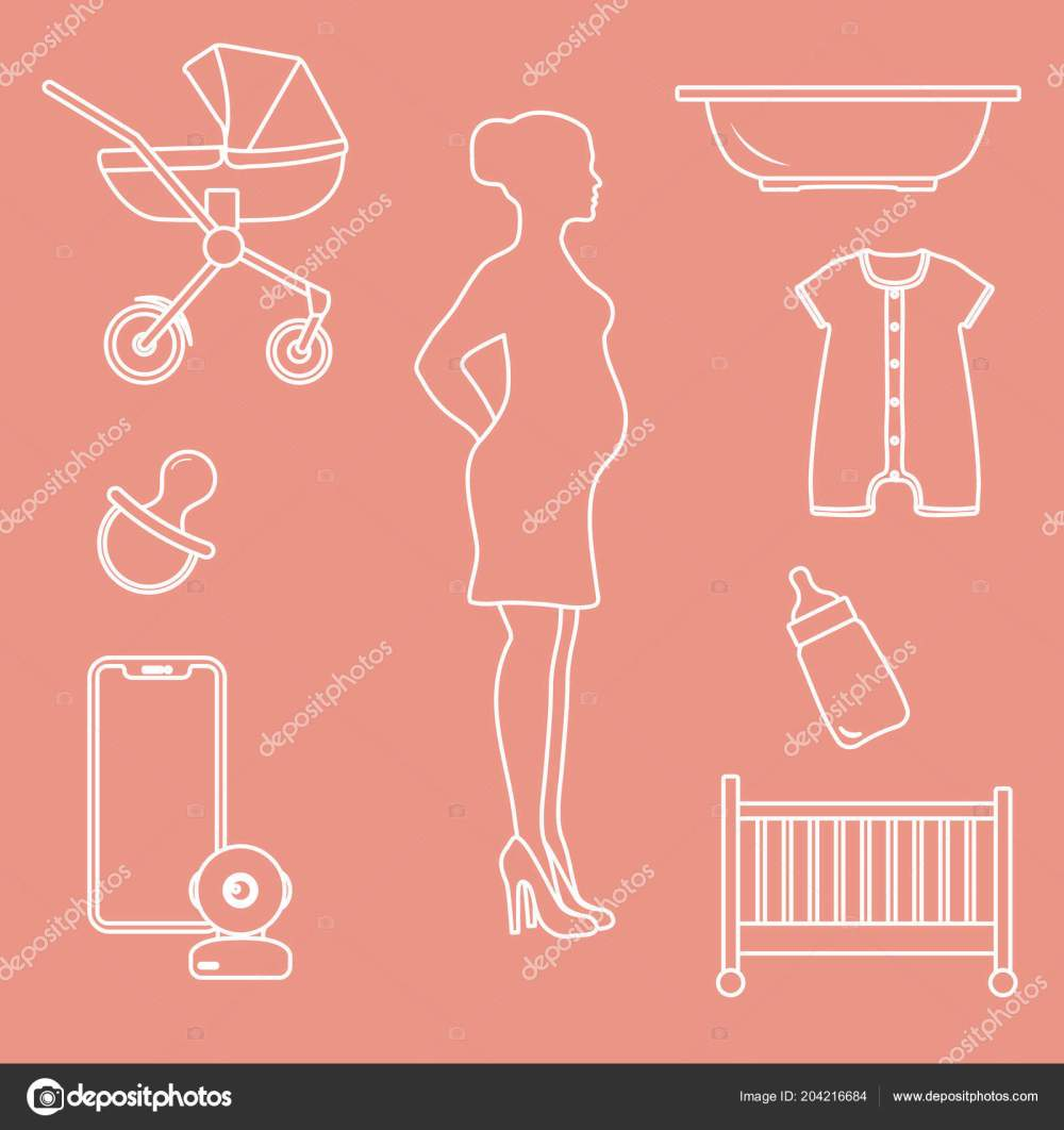 medium resolution of pregnant woman goods babies stroller crib baby monitor bottle pacifier stock vector