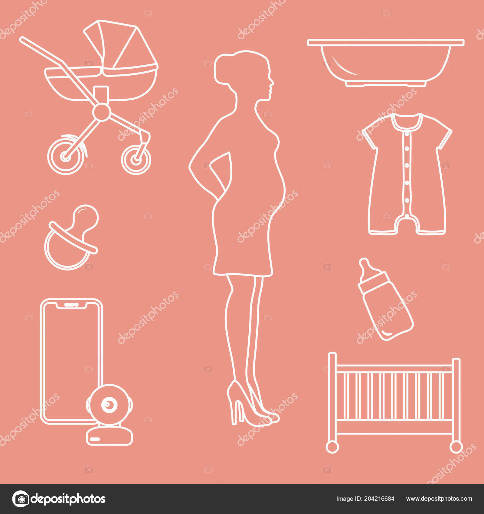hight resolution of pregnant woman goods babies stroller crib baby monitor bottle pacifier stock vector