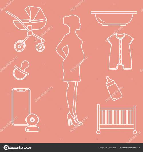 small resolution of pregnant woman goods babies stroller crib baby monitor bottle pacifier stock vector