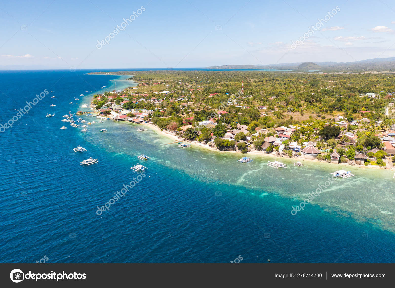 Coast Of Cebu Island Moalboal Philippines Top View