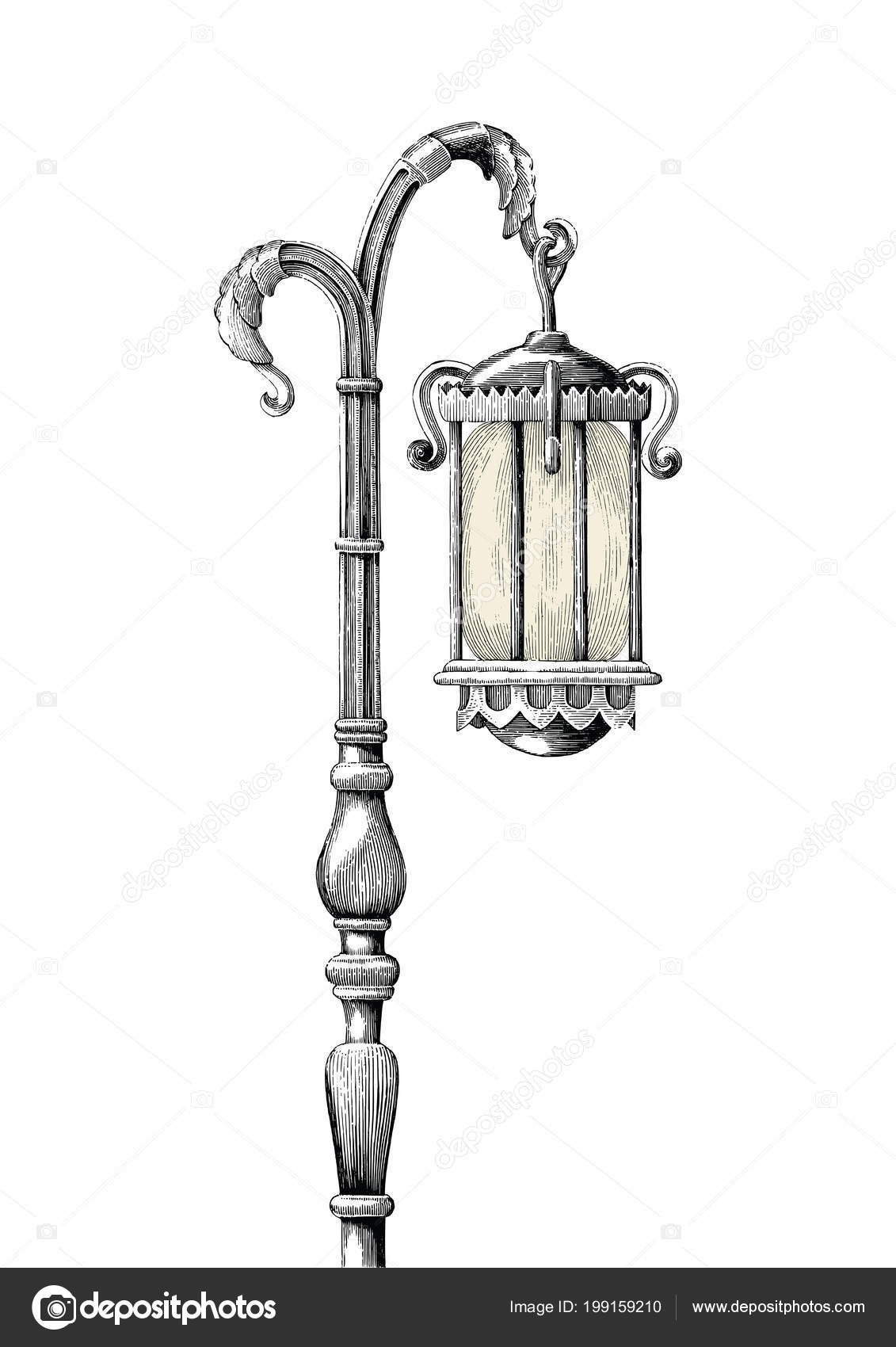 Old Lamp Post Drawing Vintage Lamp Post Hand Drawing Engraving Illustration White Background Stock Photo Ohm3417 Hotmail Com 199159210