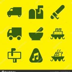 Kitchen Package Backsplash Murals 传递图标集与厨房包邮箱和挑选矢量图标的图形设计和网页 图库矢量图像