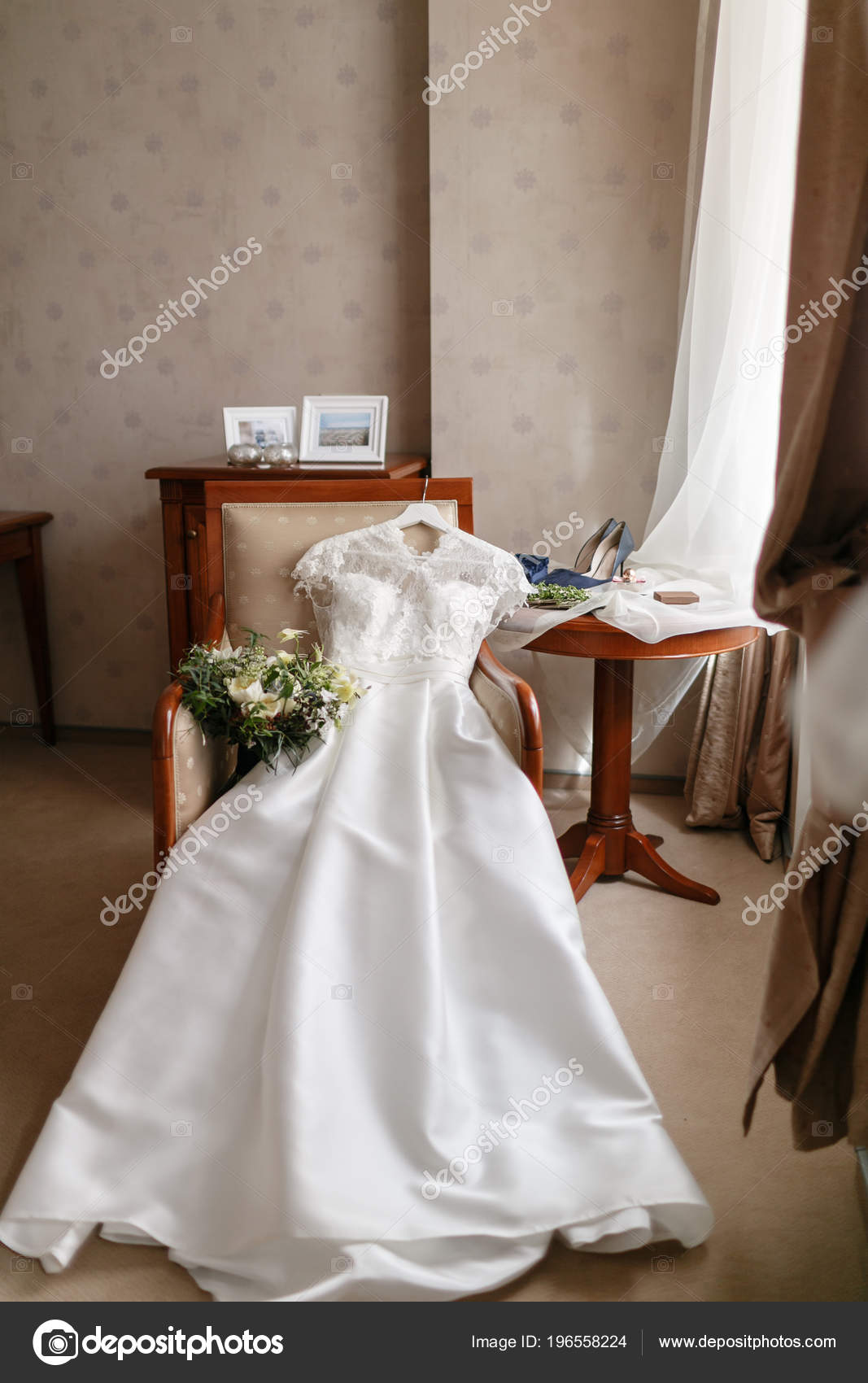 chair accessories for weddings blue slipcovers white wedding dress with lace lying on the bouquet different flowers modern bridal