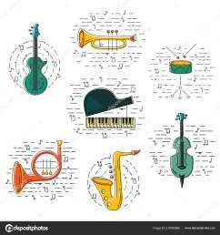 vector set music instrument guitar piano saxophone cornet french horn stock vector [ 1600 x 1700 Pixel ]