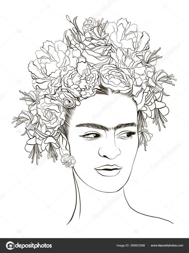 Magdalena Carmen Frida Kahlo Coloring Page Portrait Magdalena