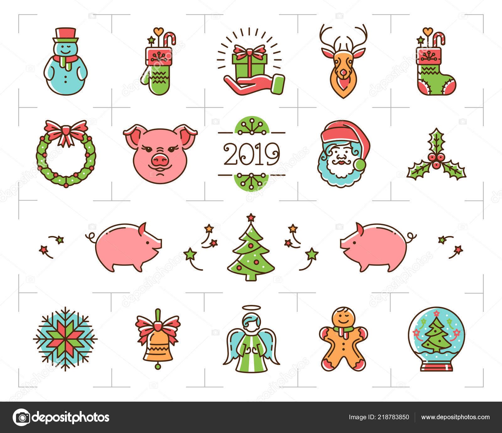 christmas icons set zodiac