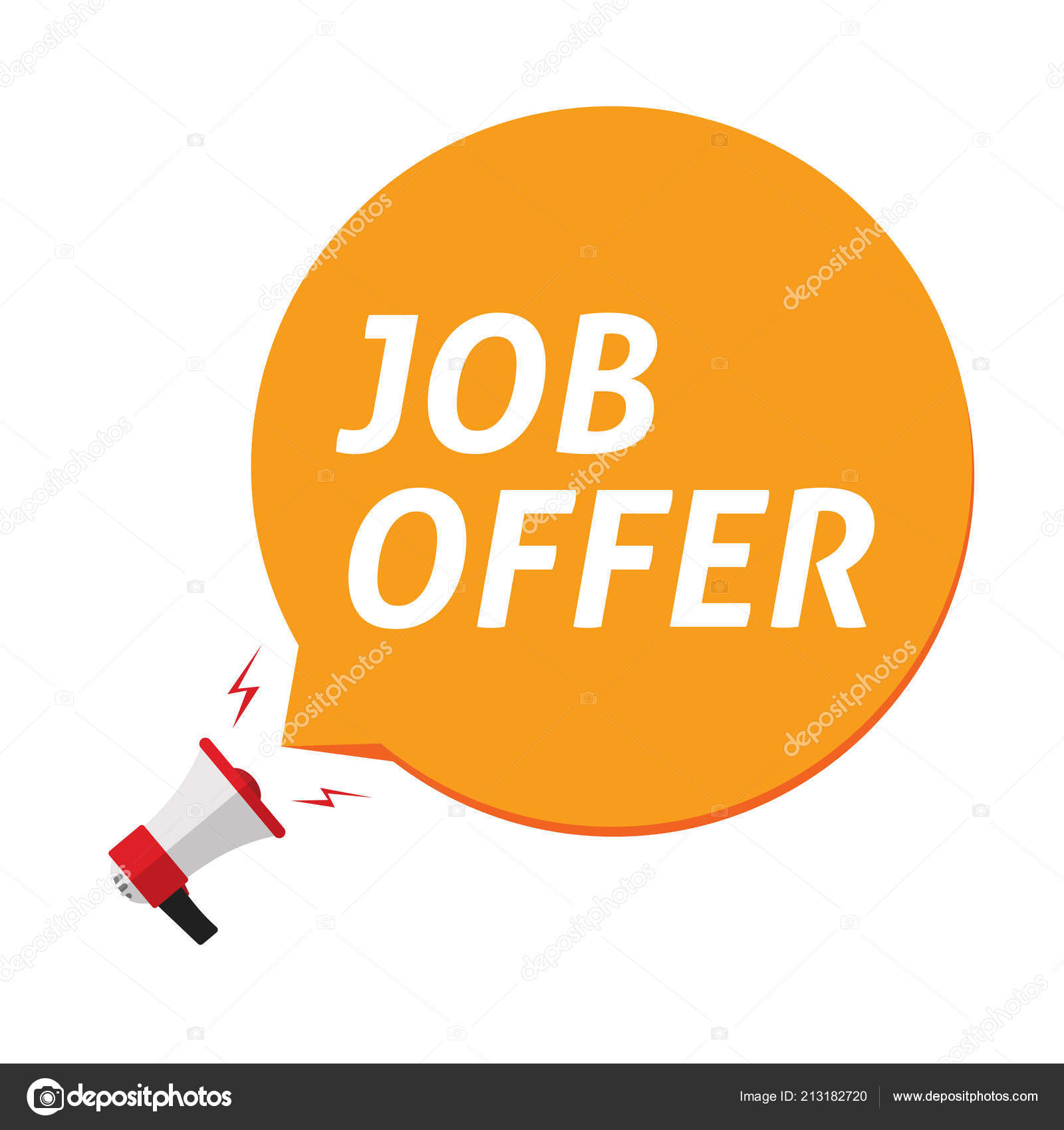 hight resolution of job offer announce in bubble speech and megaphone vector illustration isolated clipart stock vector