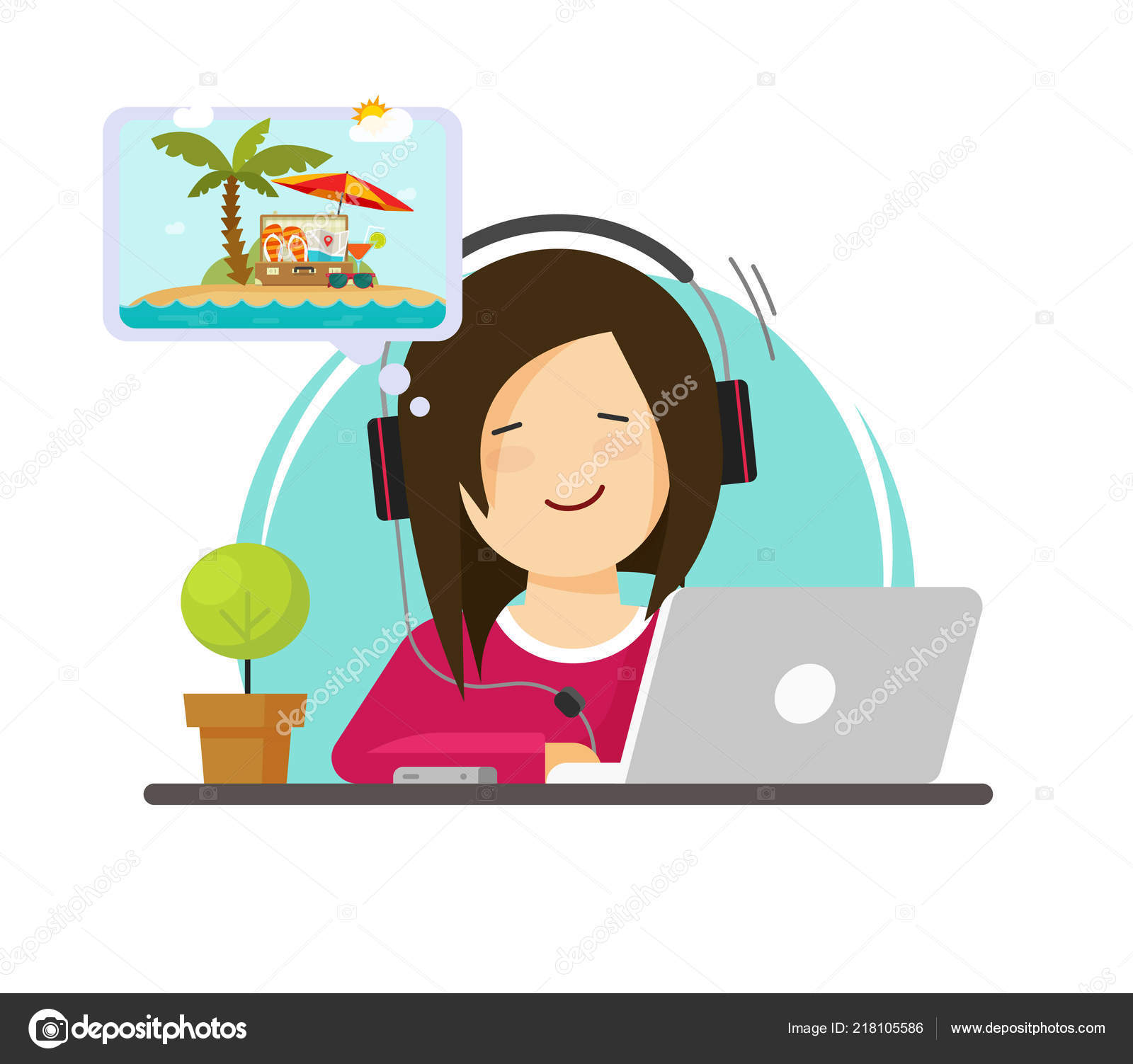 hight resolution of girl working on computer and dreaming of resort travelling flat cartoon person work on desktop pc